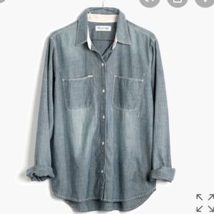 Madewell perfect chambray button down top M